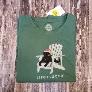 Life Is Good black dog long-sleeve shitty